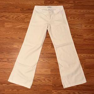 Solid White Wide Leg Linen Cotton Slacks
